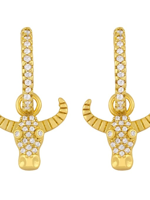 Ox head Brass Cubic Zirconia Locket Vintage Huggie Earring