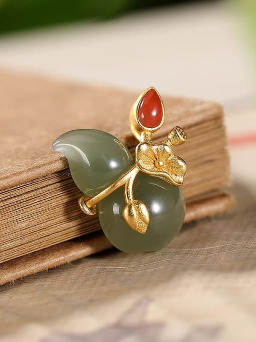 Blue jade (excluding chain) 925 Sterling Silver Jade Cute Irregular Pendant