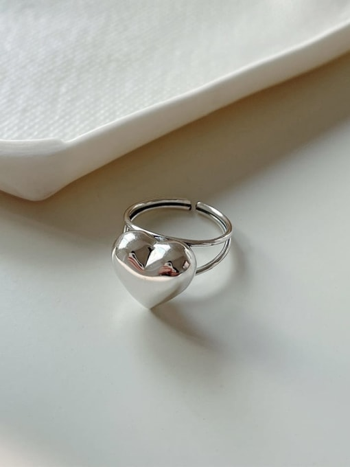 Boomer Cat 925 Sterling Silver Heart Minimalist Band Ring 0