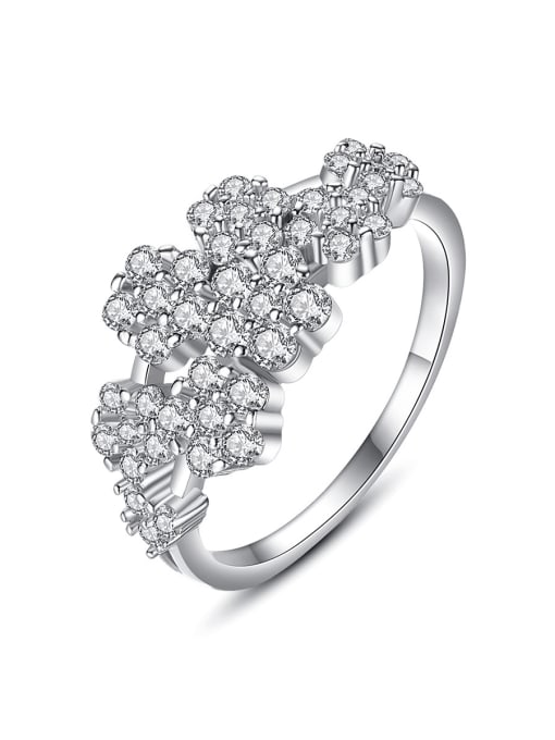 BLING SU Copper Cubic Zirconia Flower Luxury Band Ring 0