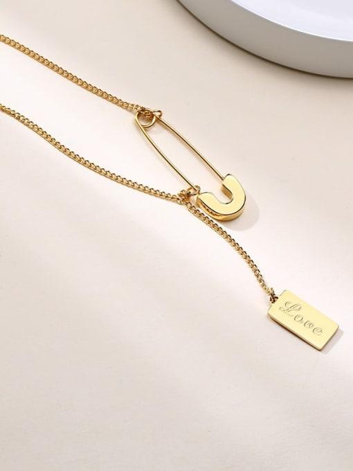 CONG Stainless steel Geometric  Tassel Minimalist Lariat Necklace 3