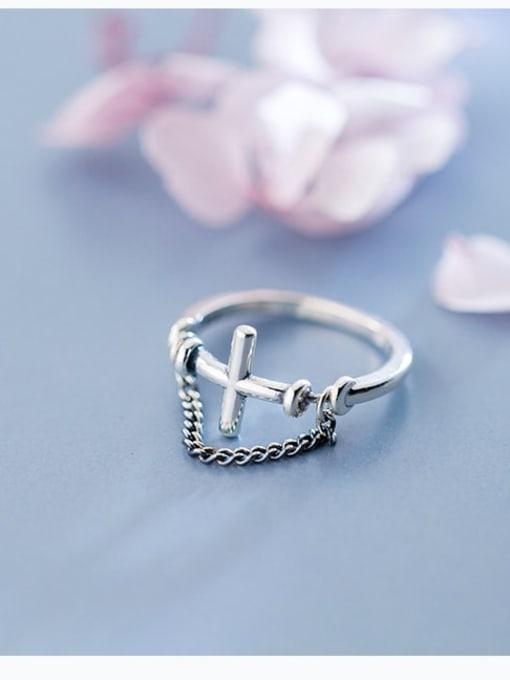 Rosh 925 Sterling Silver Cross Minimalist Band Ring 0