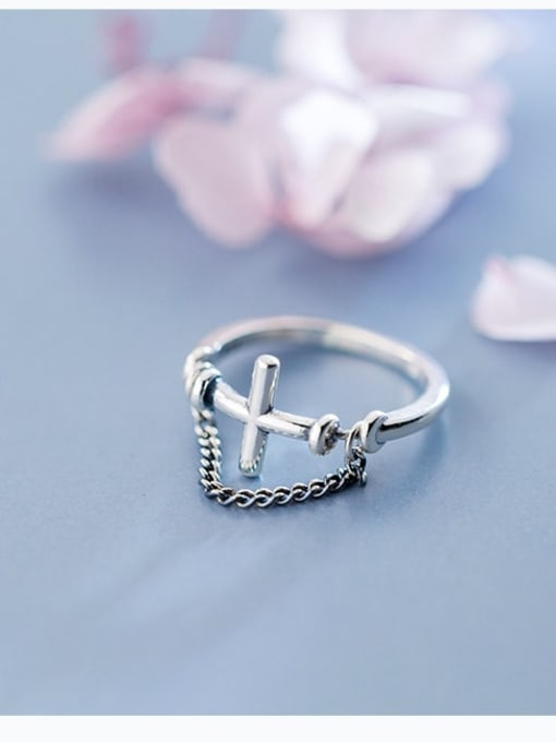 Rosh 925 Sterling Silver Cross Minimalist Band Ring