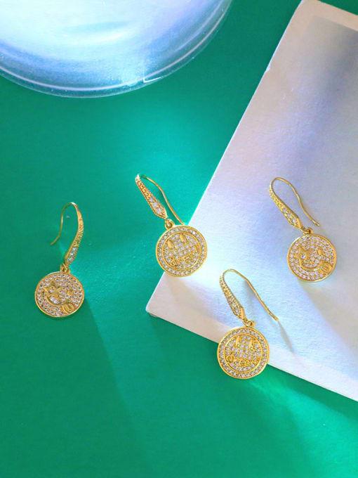 CC Brass Cubic Zirconia Round Hip Hop Hook Earring 3