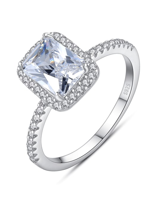 CCUI 925 Sterling Silver Cubic Zirconia Geometric Minimalist Band Ring