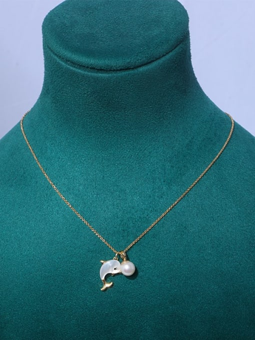 dolphin Brass Freshwater Pearl Cloud Minimalist Necklace
