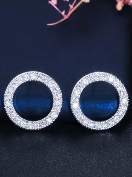 L.WIN Brass Cubic Zirconia Round Luxury Stud Earring 1