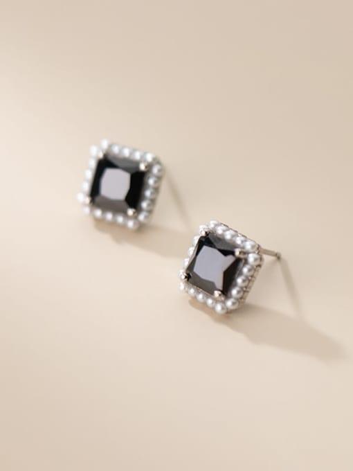silver 925 Sterling Silver Imitation Pearl Geometric Vintage Stud Earring
