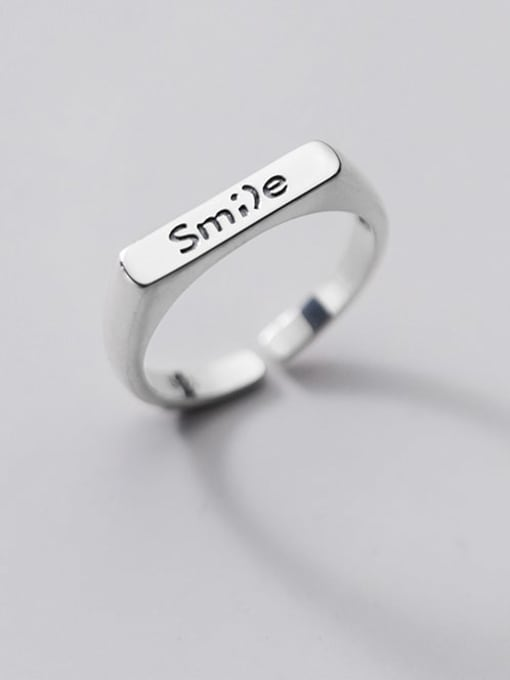 Rosh 925 Sterling Silver Letter Minimalist Band Ring 0