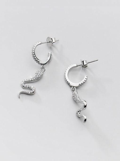 Rosh 925 Sterling Silver Cubic Zirconia Snake Ethnic Drop Earring 3