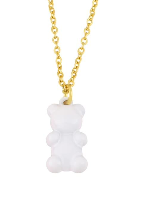 CC Brass Enamel Cute Bear Pendant Necklace 2