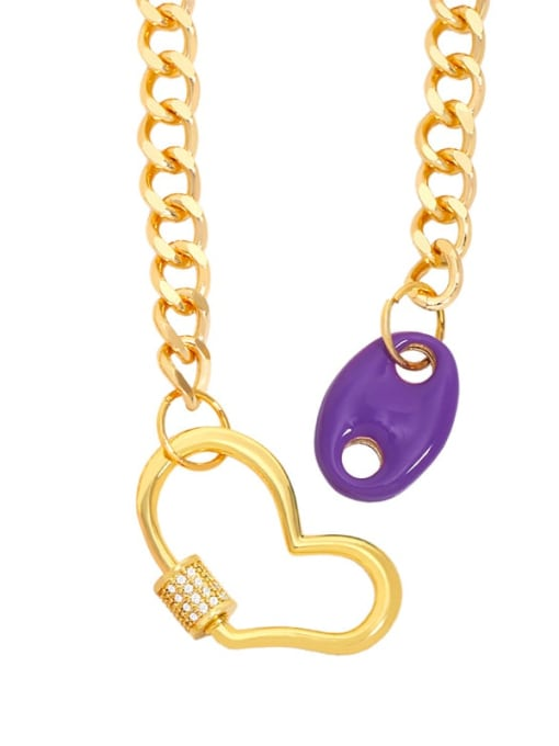 purple Brass Enamel Heart Hip Hop Hollow Chain Necklace