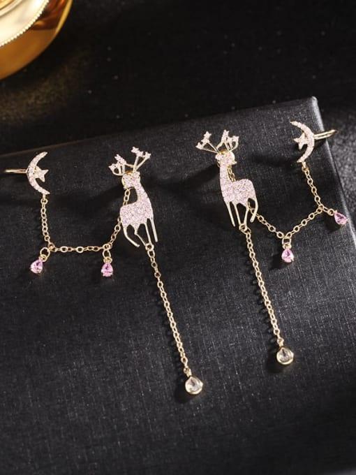 Gold powder zirconium Brass Cubic Zirconia Deer Trend Stud Earring