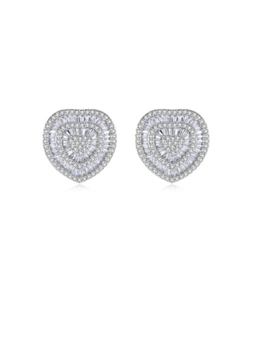 BLING SU Brass Cubic Zirconia Heart Luxury Stud Earring