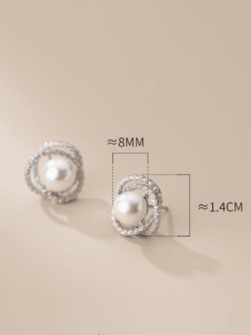 Rosh 925 Sterling Silver Cubic Zirconia Geometric Minimalist Stud Earring 2