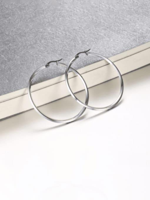 CONG Titanium Steel Geometric Minimalist Hoop Earring 2