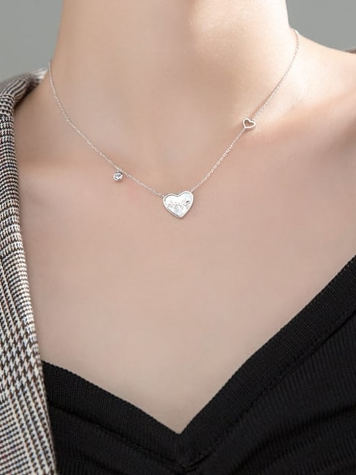 Rosh 925 Sterling Silver Acrylic Heart Minimalist Necklace 1