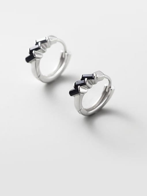 Rosh 925 Sterling Silver Cubic Zirconia Irregular Cute Huggie Earring 0