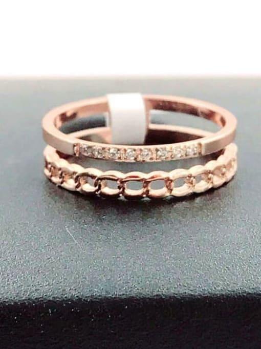 MIYA Titanium Steel Rhinestone Irregular Minimalist Stackable Ring 0