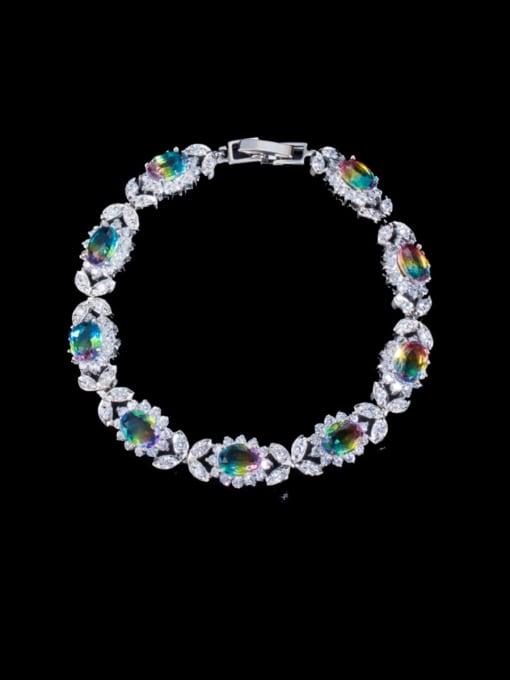 L.WIN Brass Cubic Zirconia Oval Luxury Bracelet
