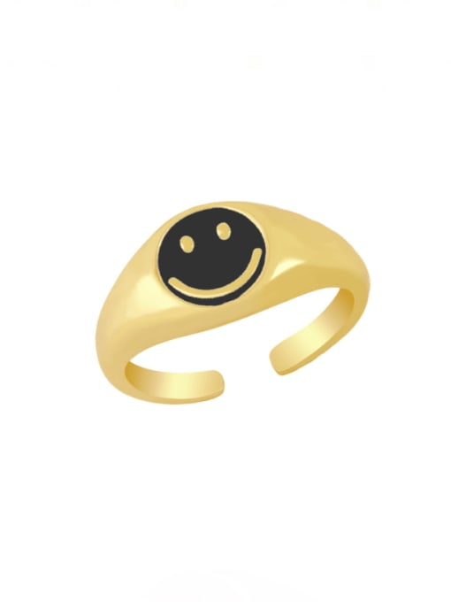 black Brass Enamel Smiley Hip Hop Band Ring