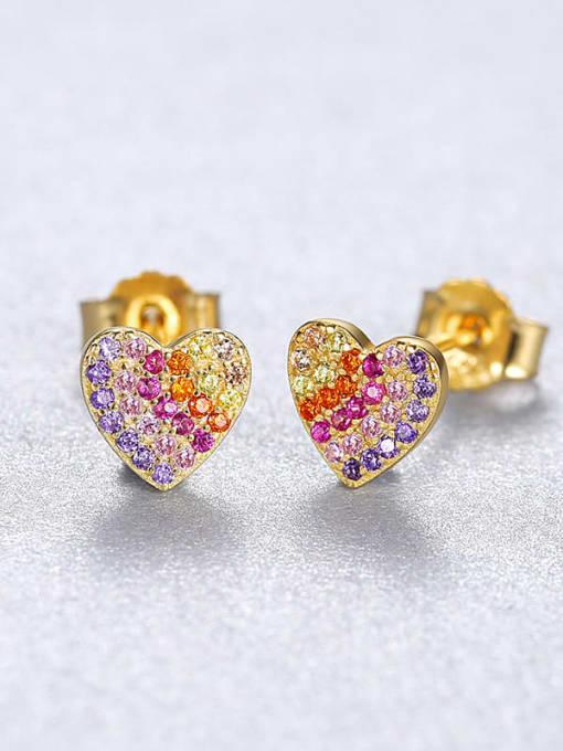18K 23C12 925 Sterling Silver Cubic Zirconia Heart Dainty Stud Earring