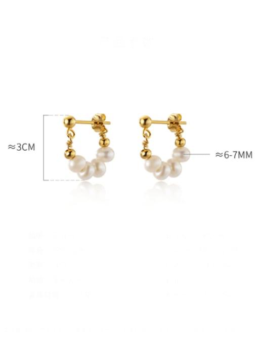 Rosh 925 Sterling Silver Imitation Pearl Geometric Minimalist Huggie Earring 3