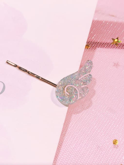 Colorful grey with wings Alloy Cellulose Acetate Minimalist Heart Hair Pin