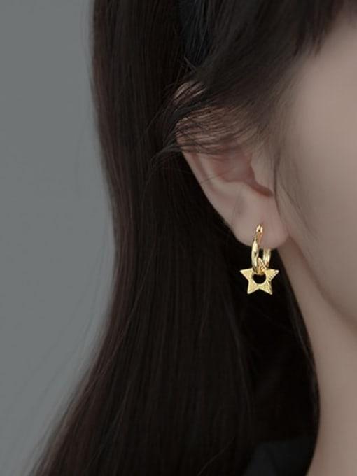 Rosh 925 Sterling Silver Star Vintage Huggie Earring 1