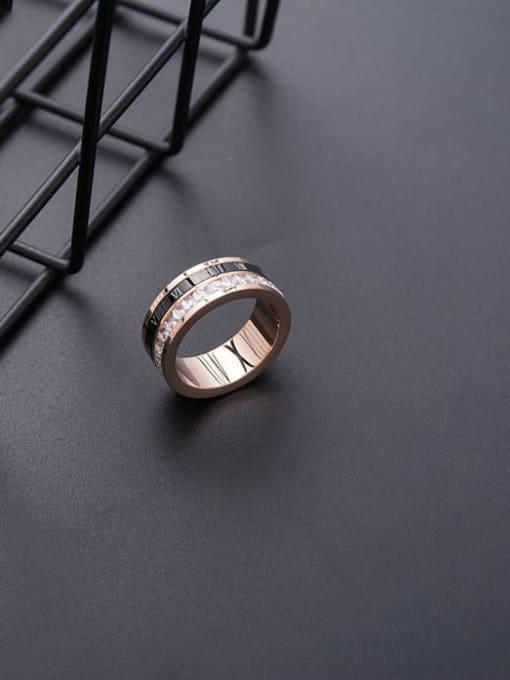 MIYA Stainless steel Enamel Rhinestone Round Minimalist Stackable Ring 2