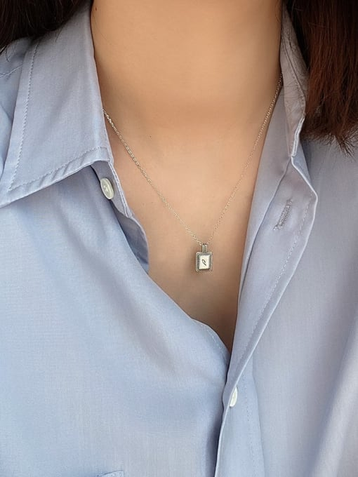 Boomer Cat 925 Sterling Silver Geometric Letter Vintage Necklace 2