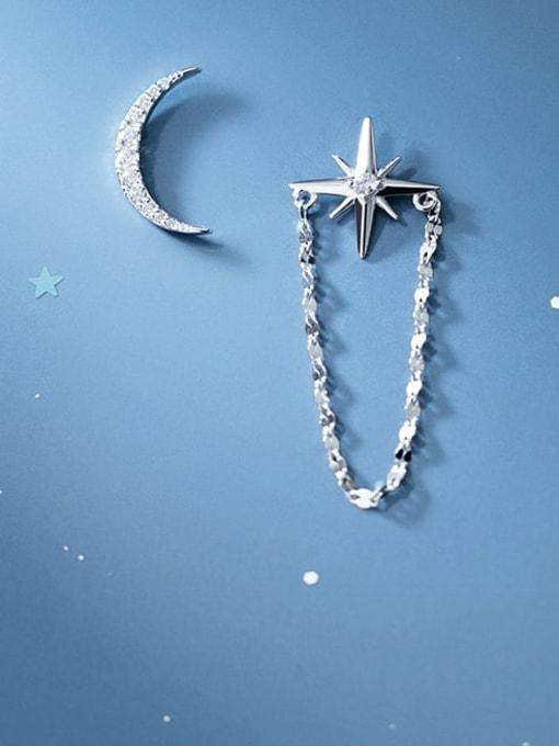 Rosh 925 Sterling Silver Cubic Zirconia Asymmetry Moon Tassel Minimalist Huggie Earring 0