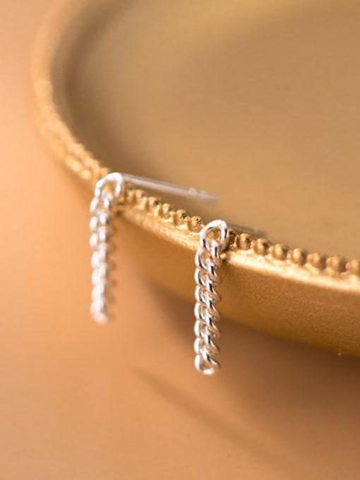 Rosh 925 Sterling Silver Geometric Chain Minimalist Drop Earring 0