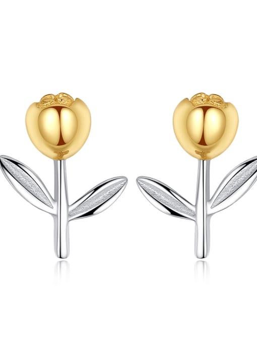 CCUI 925 Sterling Silver Flower Minimalist Stud Earring 0