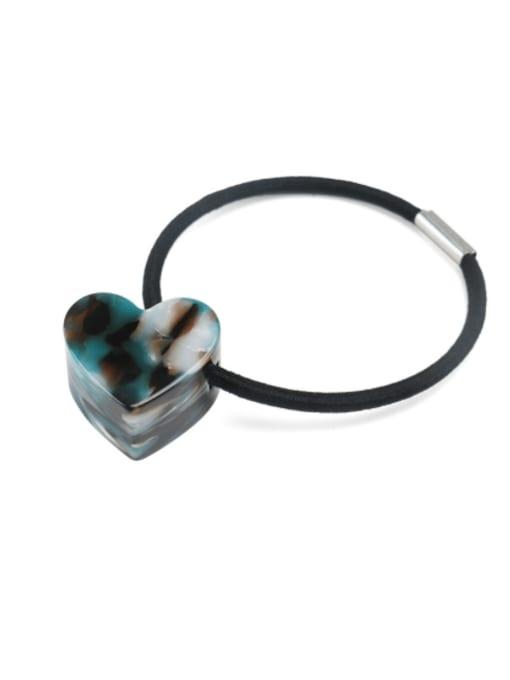 Dark green Cellulose Acetate Minimalist Heart Hair Rope