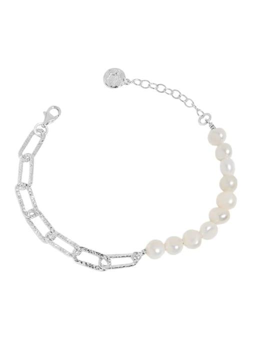 silver 925 Sterling Silver Freshwater Pearl Geometric Vintage Link Bracelet