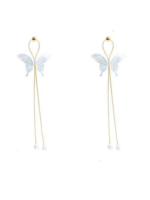 Earrings Brass Shell  Minimalist ButterflyEarring and Necklace Set