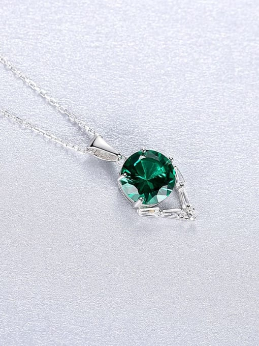 Green 20A05 925 Sterling Silver Cubic Zirconia Geometric Dainty Necklace