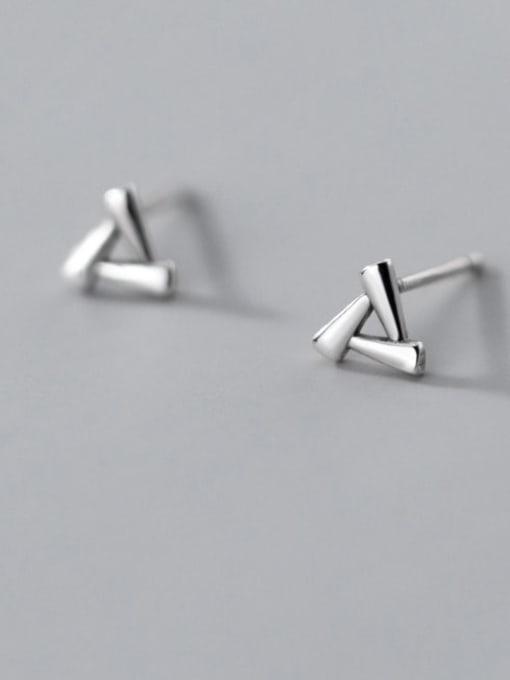 Rosh 925 Sterling Silver Hollow Triangle Minimalist Stud Earring