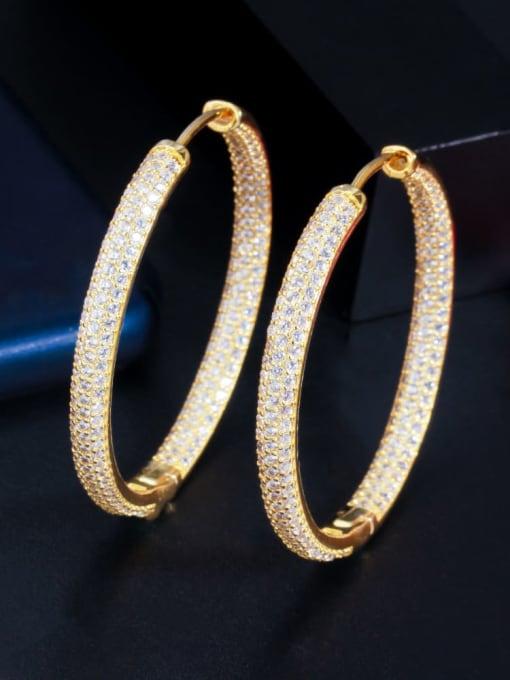 Golden Brass Cubic Zirconia Round Luxury Cluster Earring