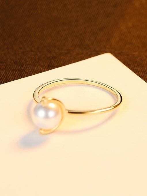 CCUI 925 Sterling Silver Imitation Pearl Irregular Minimalist Band Ring 0