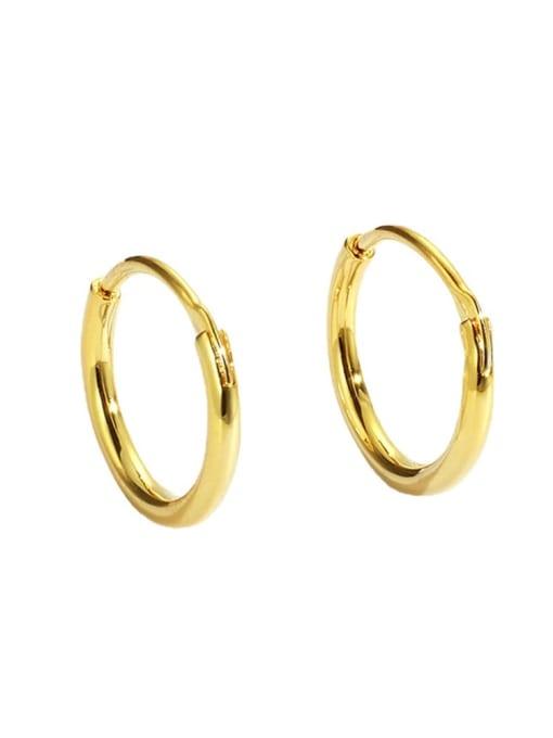 CHARME Brass Smooth Round Minimalist Hoop Earring 3