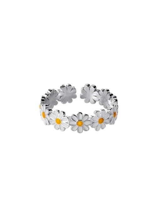 Rosh 925 Sterling Silver Flower Minimalist Band Ring 3