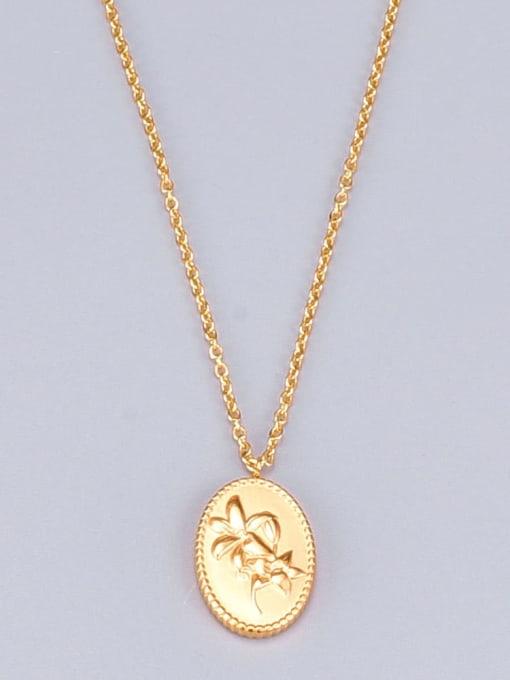 A TEEM Titanium Oval Flowers Minimalist  pendant Necklace 4