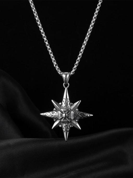 Open Sky Titanium Steel Star Hip Hop Regligious Necklace