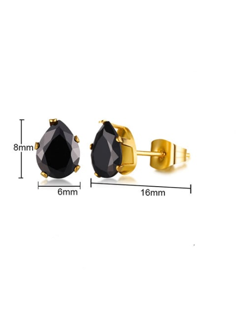 CONG Stainless steel Glass Stone Water Drop Vintage Stud Earring 3