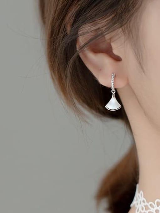 Rosh 925 Sterling Silver Shell Irregular Minimalist Drop Earring 1