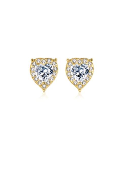 CCUI 925 Sterling Silver Cubic Zirconia Heart Minimalist Stud Earring 0