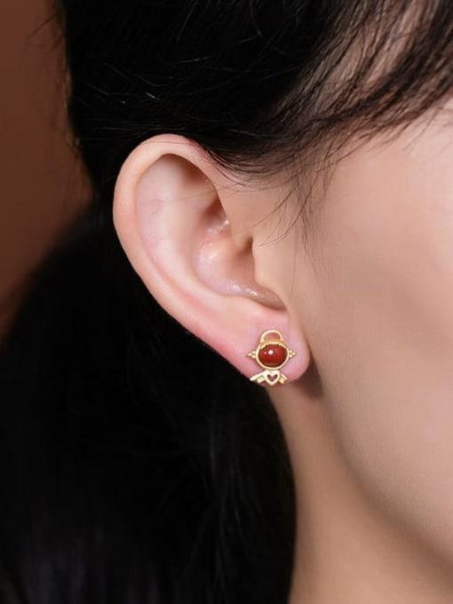 DEER 925 Sterling Silver Carnelian Angel Cute Stud Earring 1
