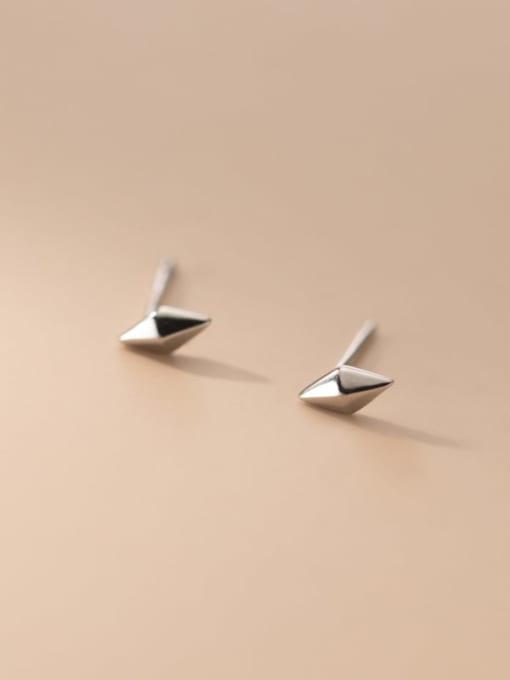 silver 925 Sterling Silver Geometric Minimalist Stud Earring